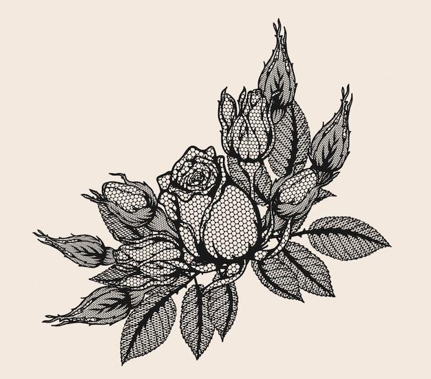 Wektor Ornament Koronki Róży Przez Strony Rysunku Premium Wektorów