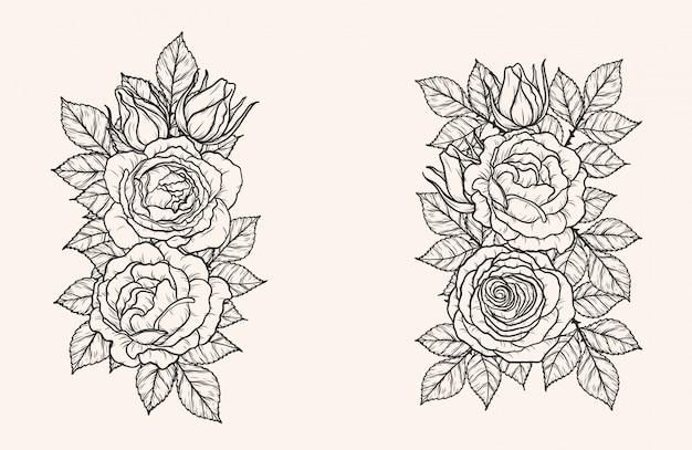 Wektor Ornament Rose Przez Strony Rysunku Premium Wektorów
