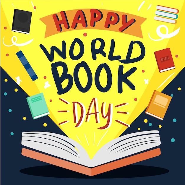 Wektor otwartej księgi na plakat światowy dzień książki Premium Wektorów