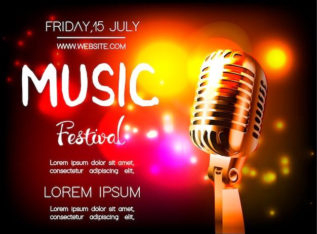 Wektor plakat na festiwal muzyczny. Premium Wektorów