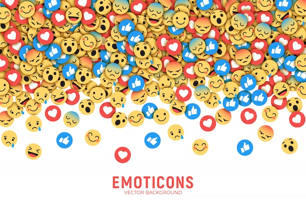 Wektor płaski nowoczesny facebook emoticons koncepcyjne streszczenie sztuka ilustracja Premium Wektorów