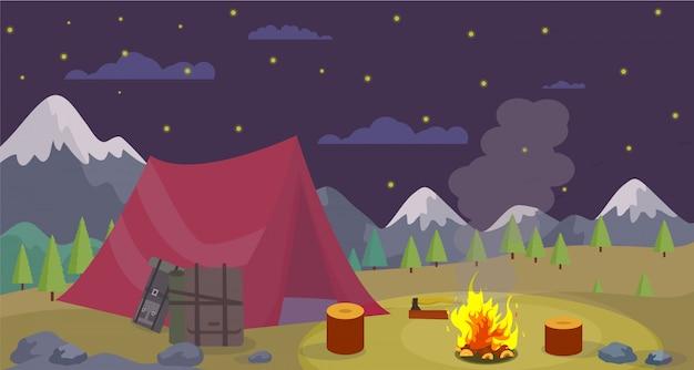 Wektor płaskie noc camping góry nagrać ognisko. Premium Wektorów