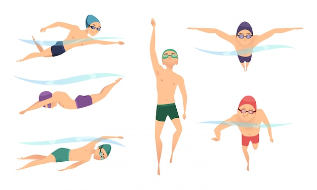 Wektor Pływaków. Różne Postacie Pływające W Pozach Akcji Premium Wektorów