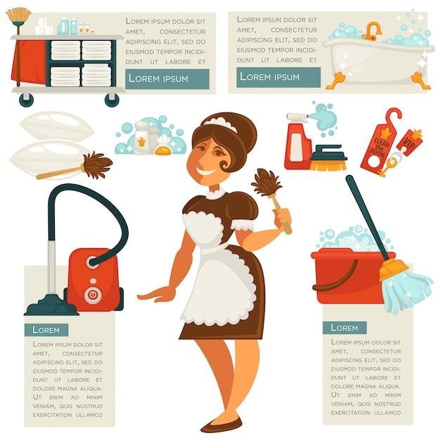 Wektor pokojówka i środki czystości. Premium Wektorów
