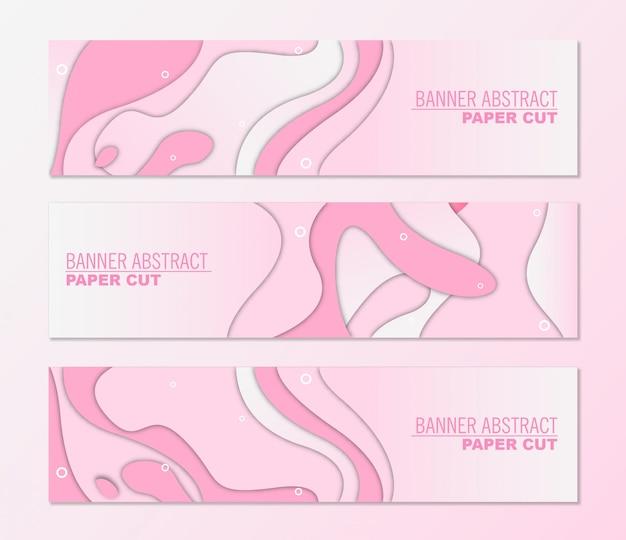 Wektor Poziome Bannery Wz Stylem Cięcia Papieru Różowy Design Premium Wektorów
