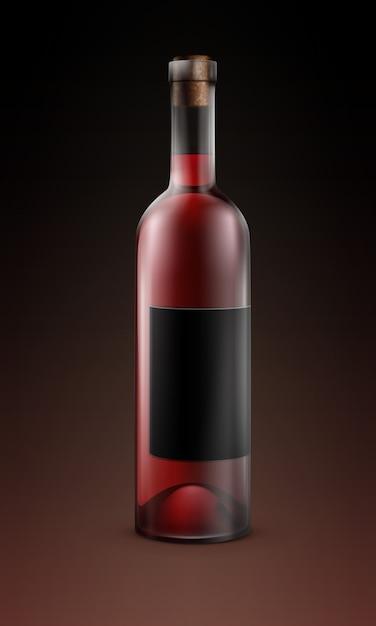 Wektor Przezroczysta Szklana Butelka Czerwonego Wina Z Czarną Etykietą Na Białym Tle Na Ciemnym Tle Darmowych Wektorów