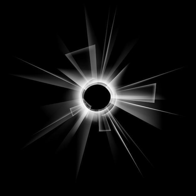 Wektor Przezroczyste Okno Rozbite Szkło Z Dziurą Po Kuli Na Ciemny Czarny Premium Wektorów