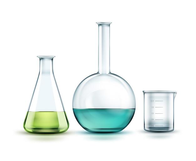 Wektor Przezroczyste Szklane Kolby Chemiczne Pełne Off Zielony, Niebieski Płyn I Pustą Zlewkę Na Białym Tle Na Tle Darmowych Wektorów