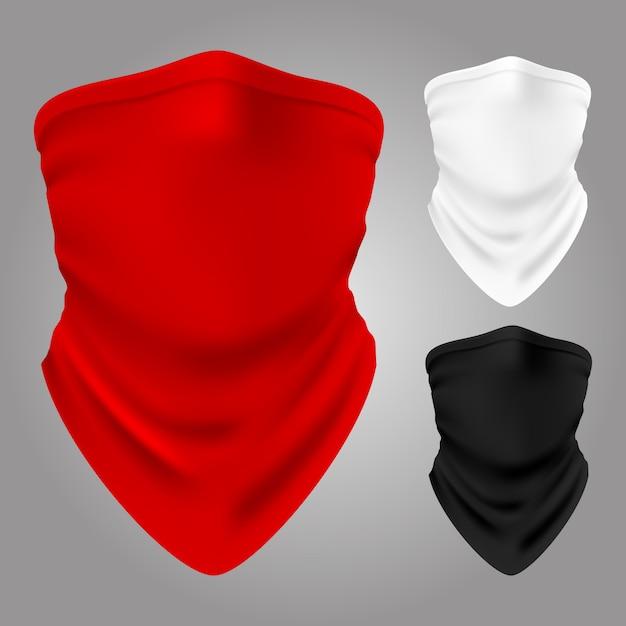 Wektor Realistyczne Tekstylne Kominiarki Kolekcja Na Białym Tle Premium Wektorów