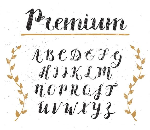 Wektor ręcznie rysowane alfabet skryptu Premium Wektorów