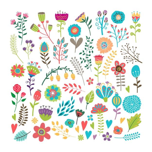 Wektor Ręcznie Rysowane Elementy Vintage Kwiatowy Darmowych Wektorów