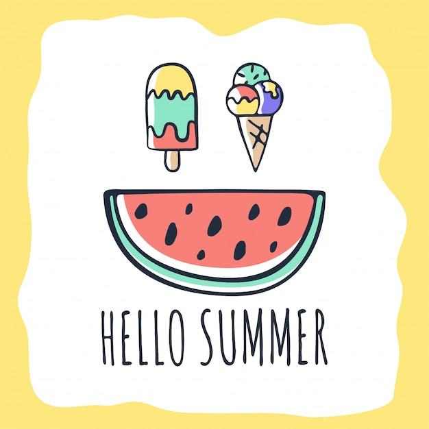 Wektor ręcznie rysowane karta lato z napisem Premium Wektorów