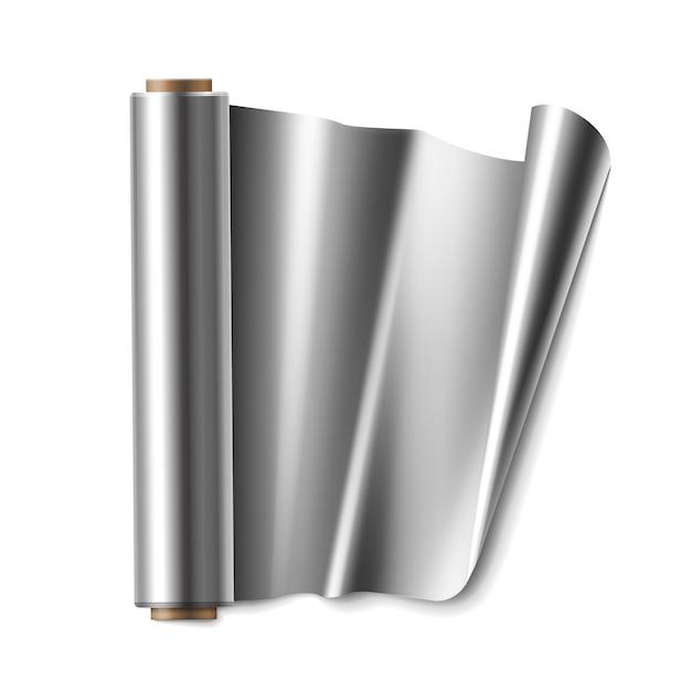 Wektor Rolka Folii Aluminiowej Z Bliska Widok Z Góry Na Białym Tle Darmowych Wektorów