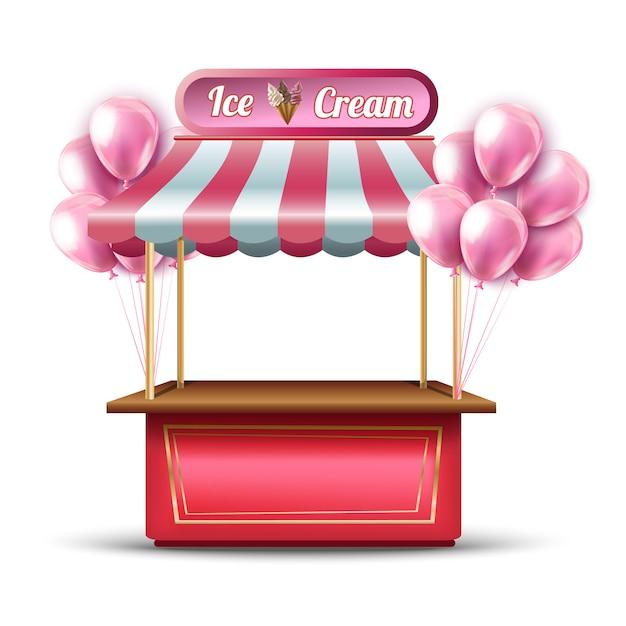 Wektor Różowy Lody Otwarcie Stoiska Sklepowe Ikona Z Balonami. Premium Wektorów