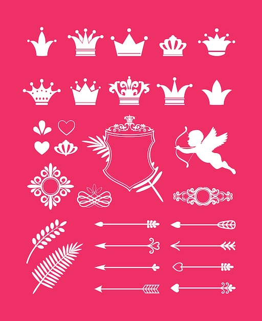 Wektor Różowy Wystrój Z Elementami Projektu Korony, Serca I Strzały Dla Księżniczki I Blasku Darmowych Wektorów