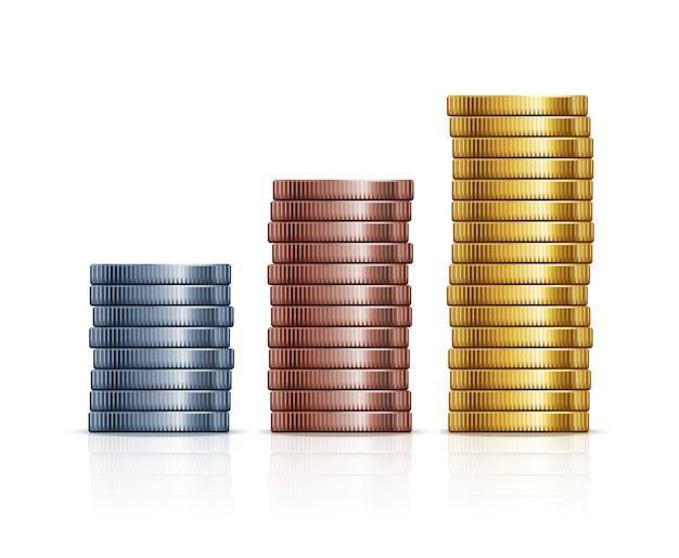 Wektor Stosy Monet. Monety Złote, Srebrne I Miedziane. Finanse, Bogactwo I Biznes Premium Wektorów