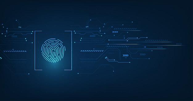 Wektor streszczenie koncepcji systemu bezpieczeństwa z odciskiem palca na tle technologii. Premium Wektorów