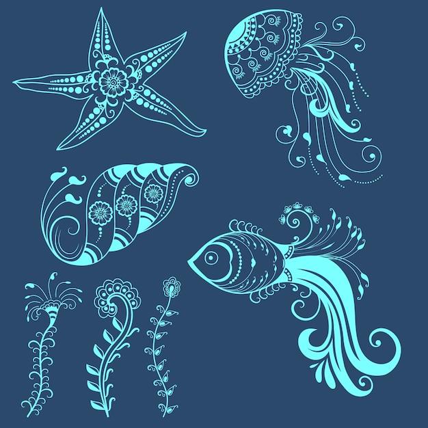 Wektor streszczenie morskich stworzeń w indyjskim mehndi stylu. streszczenie henna kwiatowy ilustracji wektorowych. element projektu. Darmowych Wektorów