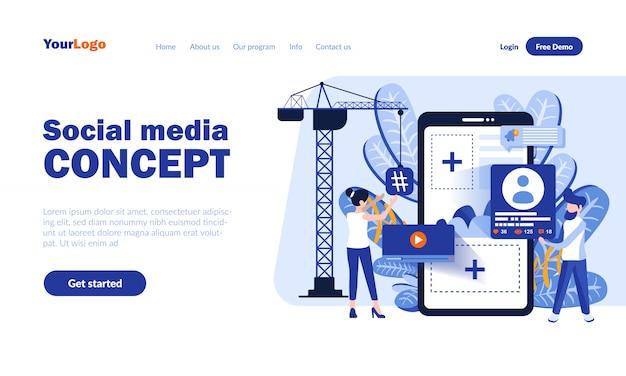 Wektor Strony Docelowej Mediów Społecznościowych Z Nagłówkiem Premium Wektorów
