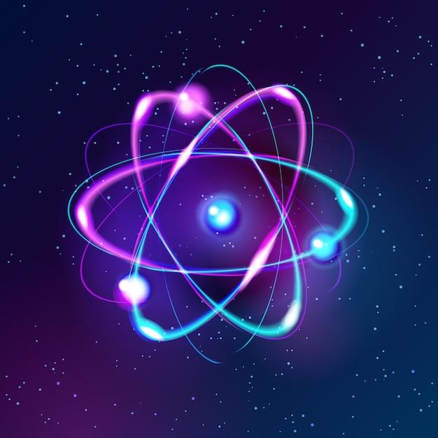 Wektor świeci Neon Model Atomu Premium Wektorów