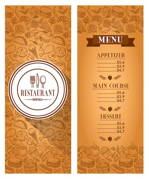 Wektor szablon menu restauracji Premium Wektorów