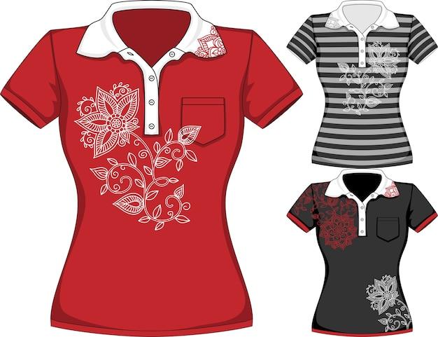 Wektor Szablony Projektów Koszulek Z Krótkim Rękawem Kobiet W Trzech Kolorach Premium Wektorów