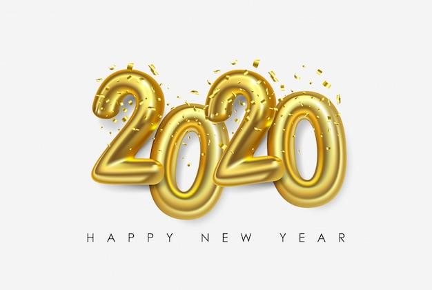 Wektor Szczęśliwego Nowego Roku 2020. Liczby Metalowe 2020 Premium Wektorów