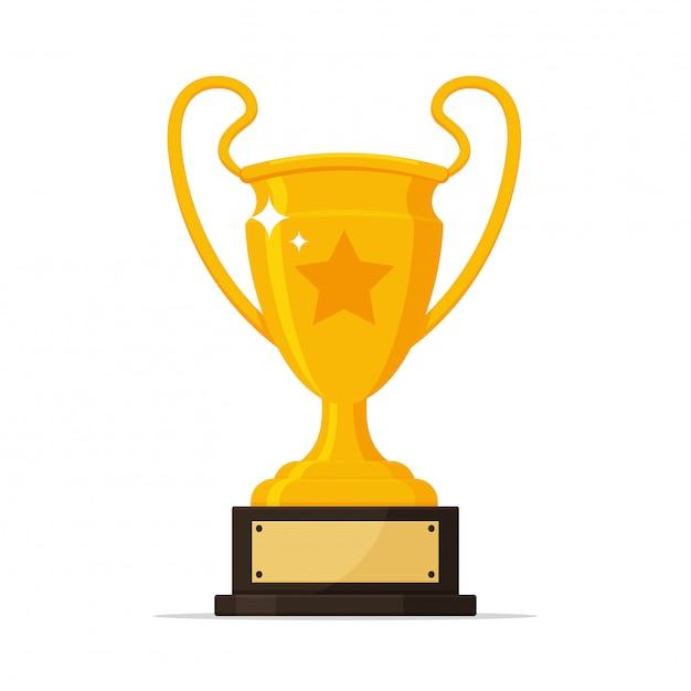 Wektor trofeum złote trofeum z tabliczką znamionową zwycięzcy wydarzenia sportowego. Premium Wektorów