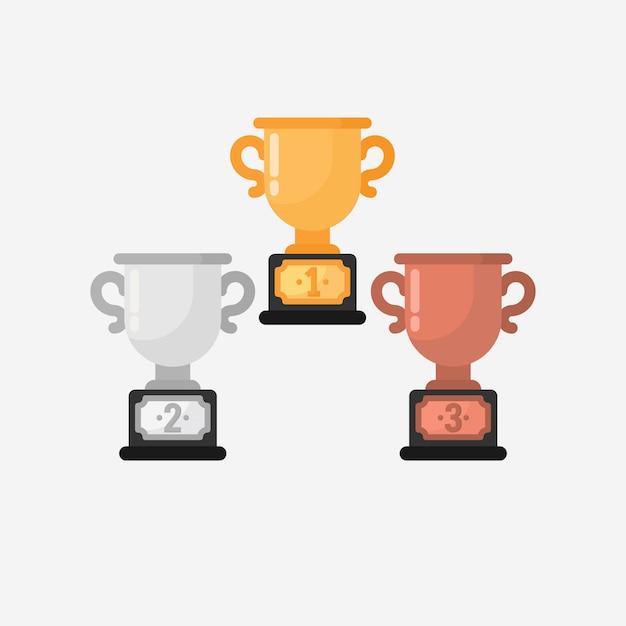 Wektor trofeum zwycięzcy w płaska konstrukcja Premium Wektorów