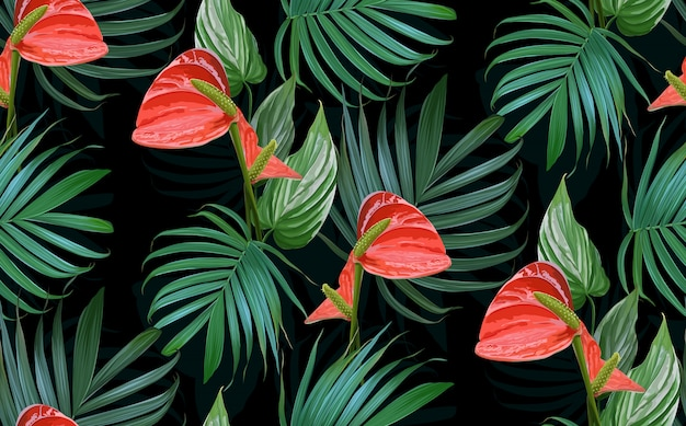 Wektor tropikalne kwiaty i liście palmowe wzór. Premium Wektorów