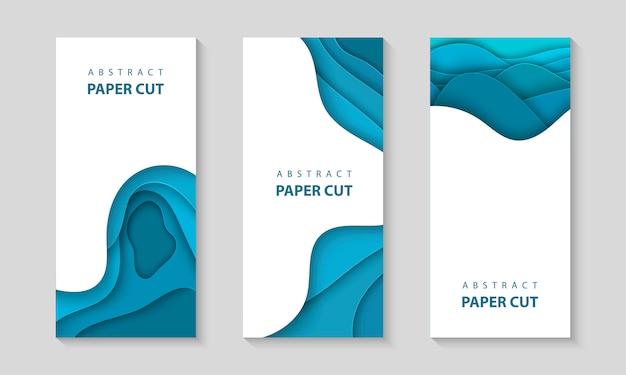 Wektor Ulotki Pionowe Z Niebieskimi Kształtami Cięcia Papieru Premium Wektorów