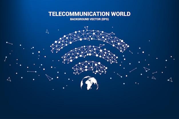 Wektor wi-fi ikona z centrum świata z linii wielokąta kropka połączona. Premium Wektorów