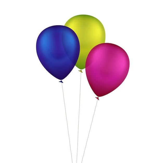 Wektor Wielobarwny Kolorowe Balony Na Białym Tle Premium Wektorów