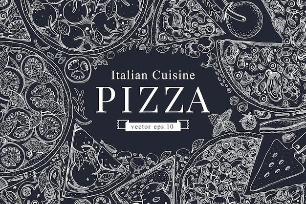 Wektor włoska pizza rama widok z góry na pokładzie kredy. Premium Wektorów