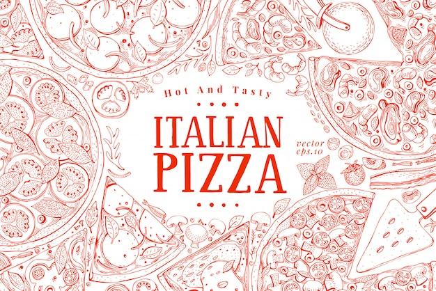 Wektor włoska pizza rama widok z góry. Premium Wektorów