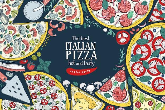 Wektor włoski pizzy widok z góry kolorowe ramki. Premium Wektorów