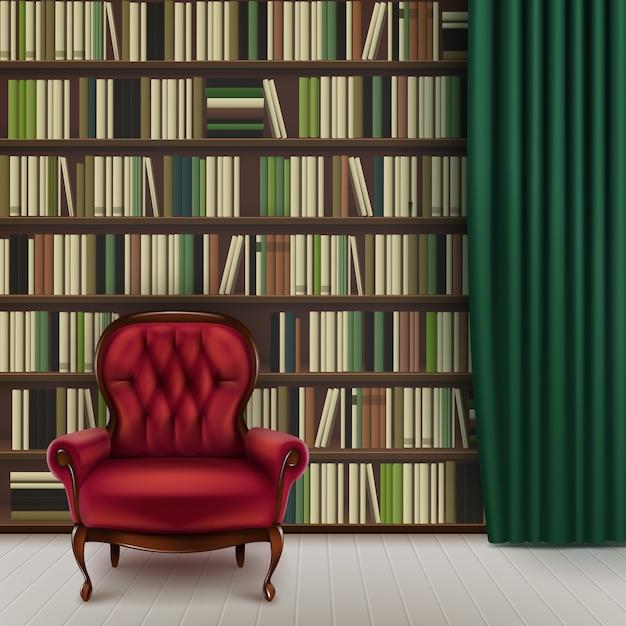 Wektor Wnętrza Biblioteki Domowej Z Dużym Regałem Pełnym Różnych Książek, Vintage Czerwony Fotel I Ciemnozielona Zasłona Darmowych Wektorów