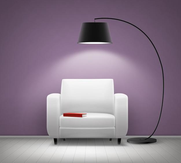 Wektor Wnętrze Domu Z Białym Fotelem, Czarną Lampą Podłogową, Czerwoną Książką I Fioletową ścianą Z Przodu Darmowych Wektorów