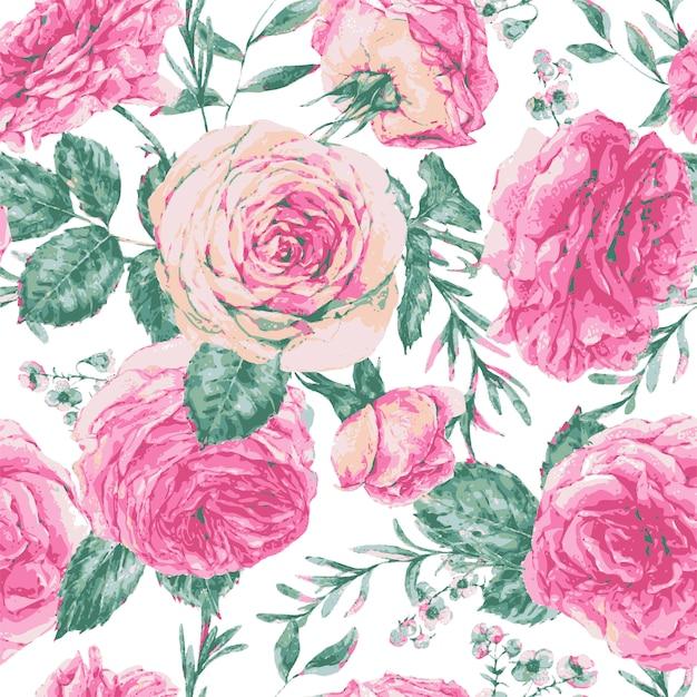 Wektor wzór kwiatowy kartkę z życzeniami z róż Premium Wektorów