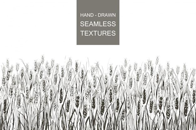 Wektor wzór pola pszenicy. ręcznie rysowane grawerowanie ilustracja wsi Premium Wektorów
