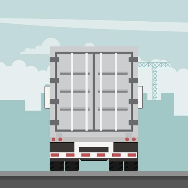 Wektor wzór przyczepy kontenerowej eksportu. logistyka transportu Premium Wektorów