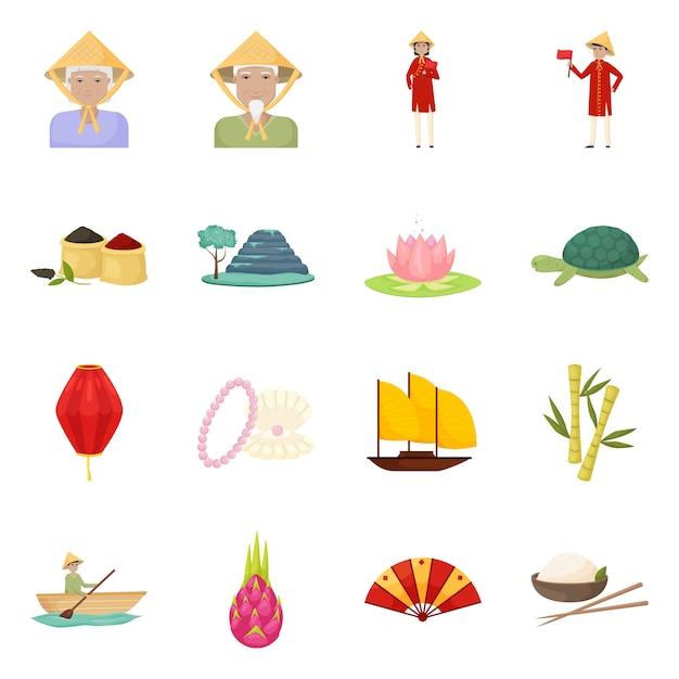 Wektor Wzór Symbolu Wietnamu I Turystyki. Kolekcja Wietnamu I Podróży Symbol Giełdowy Dla Sieci Web. Premium Wektorów
