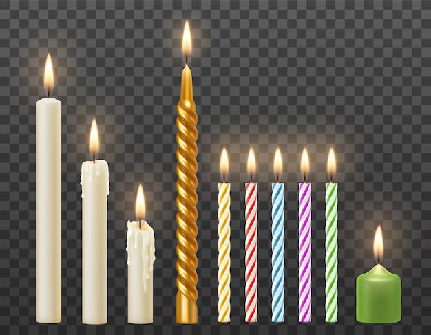 Wektor Zestaw 3d Realistyczne Płonące Białe świece, Tort Urodzinowy Kolorowe Skręcone świece. Na Przezroczystym Tle Premium Wektorów