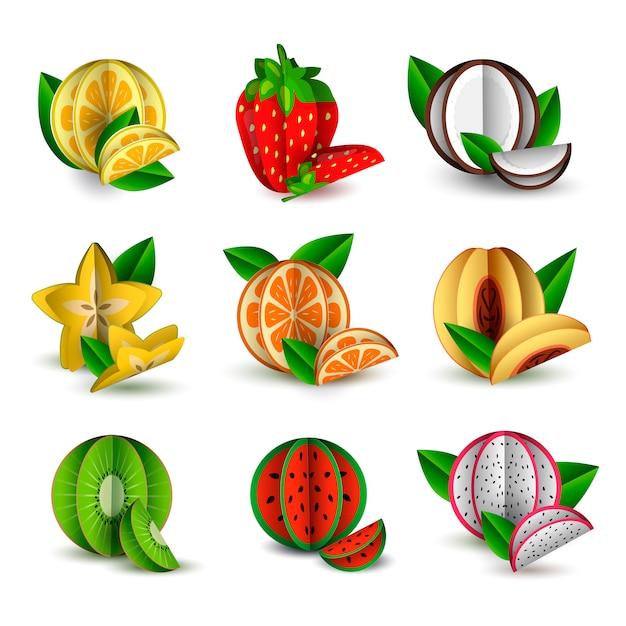Wektor Zestaw Cięcia Owoców Tropikalnych Lato Papieru Premium Wektorów