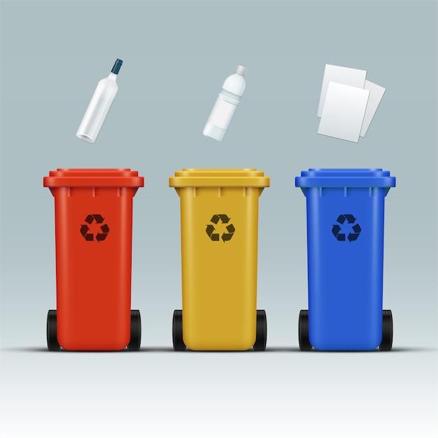 Wektor Zestaw Czerwonych, żółtych, Niebieskich Pojemników Do Recyklingu Na Odpady Szklane, Plastikowe, Papierowe Darmowych Wektorów