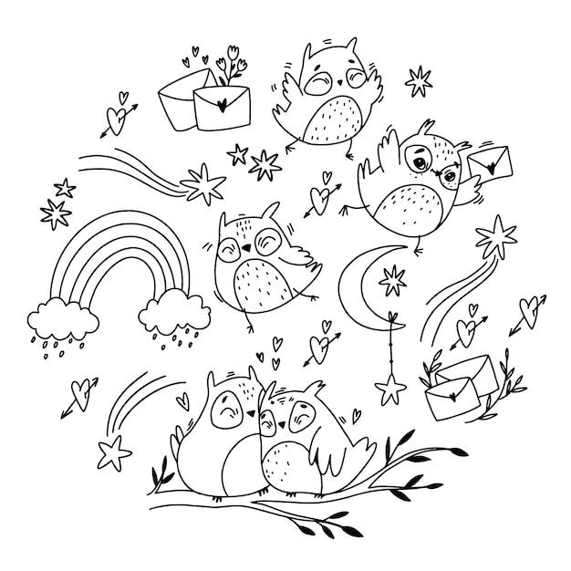 Wektor zestaw. doodle strzałki w stylu boho i kwiatami. romantyczna poczta. Premium Wektorów