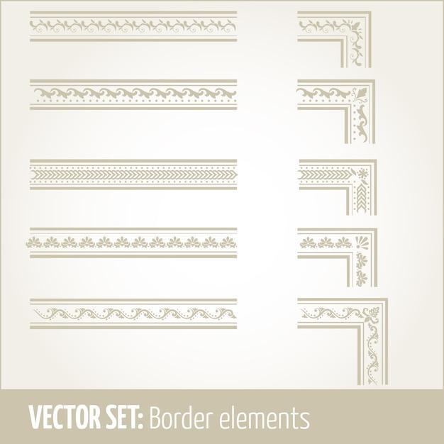 Wektor zestaw elementów granicy i elementów dekoracji strony. wzory elementów dekoracji obramowania. ilustracji wektorowych granicy etnicznej. Darmowych Wektorów