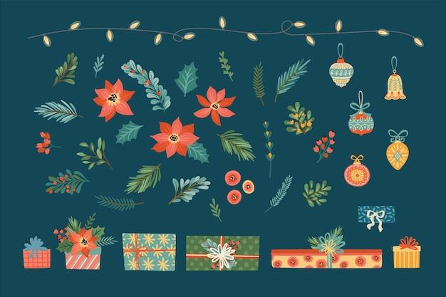 Wektor Zestaw Elementów Kwiatowy Boże Narodzenie Premium Wektorów