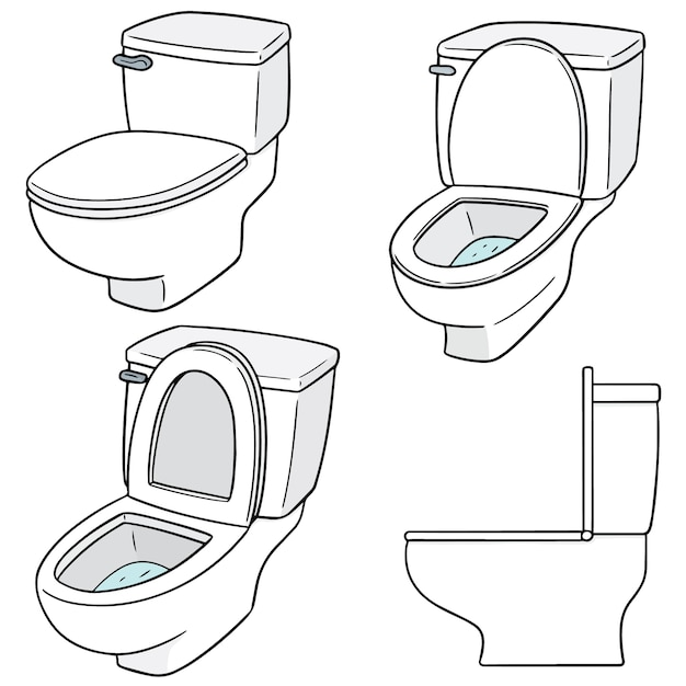 Wektor Zestaw Flush Toalety Premium Wektorów