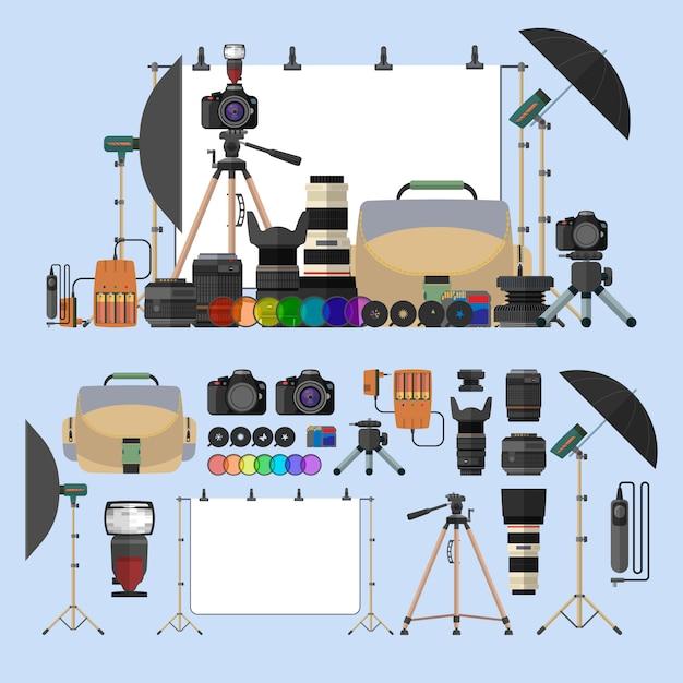 Wektor zestaw fotografii pojedyncze obiekty. elementy projektu sprzęt fotograficzny w stylu płaski. cyfrowe aparaty fotograficzne i gadżety do profesjonalnej fotografii studyjnej. Premium Wektorów